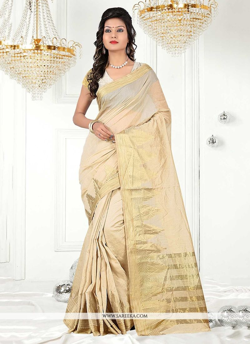 Patch Border Cotton   Casual Saree in Beige