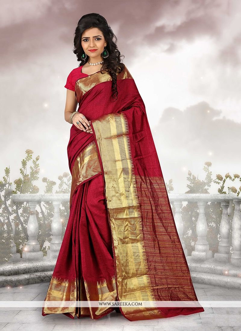 Patch Border Cotton   Casual Saree in Maroon