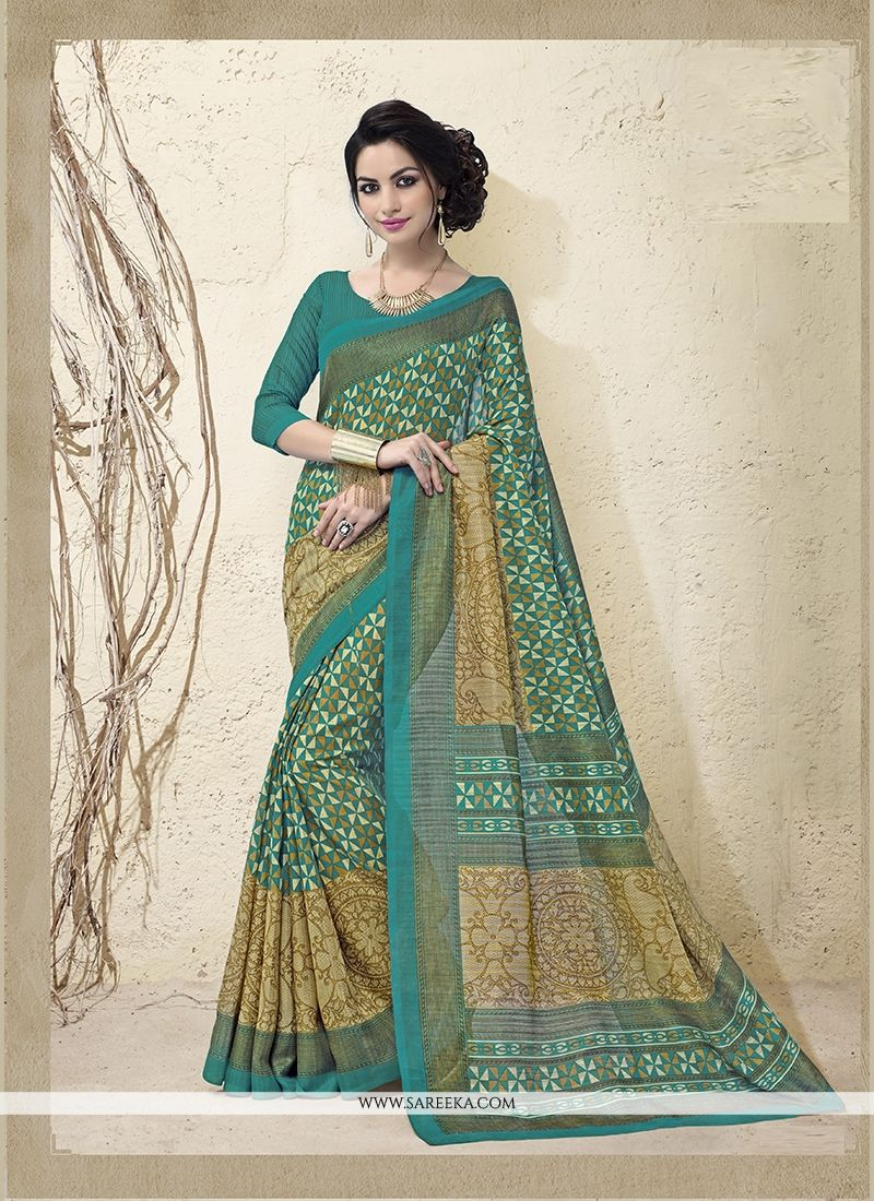 Patch Border Cotton Silk Casual Saree in Green