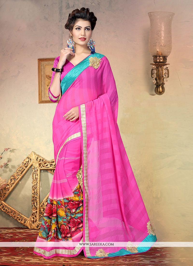 Patch Border Faux Chiffon Designer Half N Half saree in Pink
