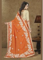 Patch Border Faux Chiffon Trendy Saree in Orange