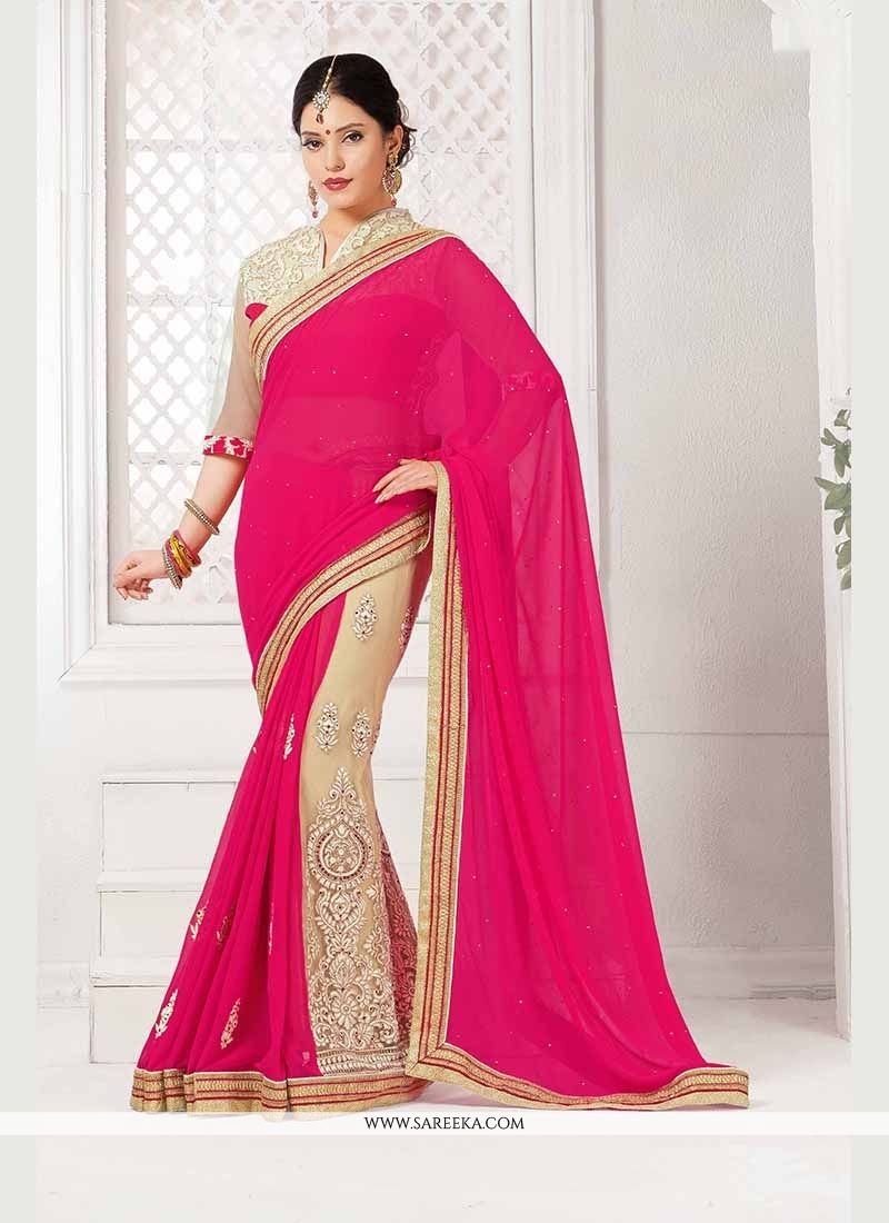 284e376041 Buy Patch Border Georgette Classic Saree in Hot Pink Online : Indian Ethnic  Wear -