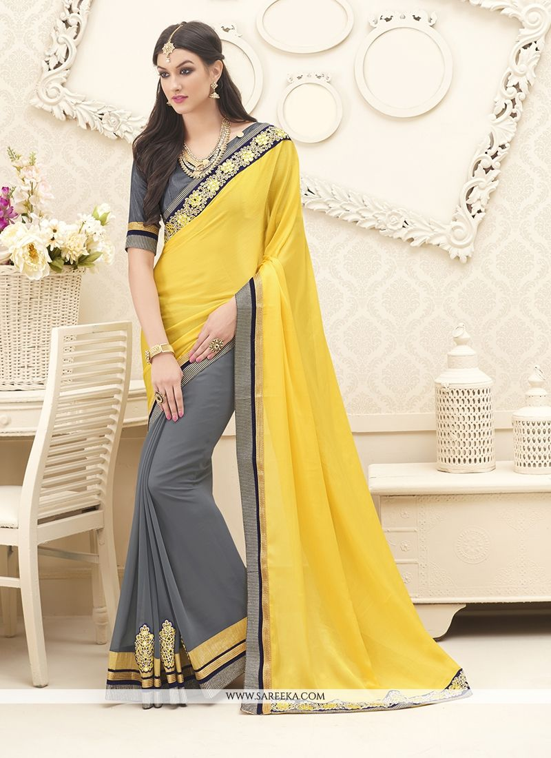 Patch Border Georgette Designer Saree in Grey