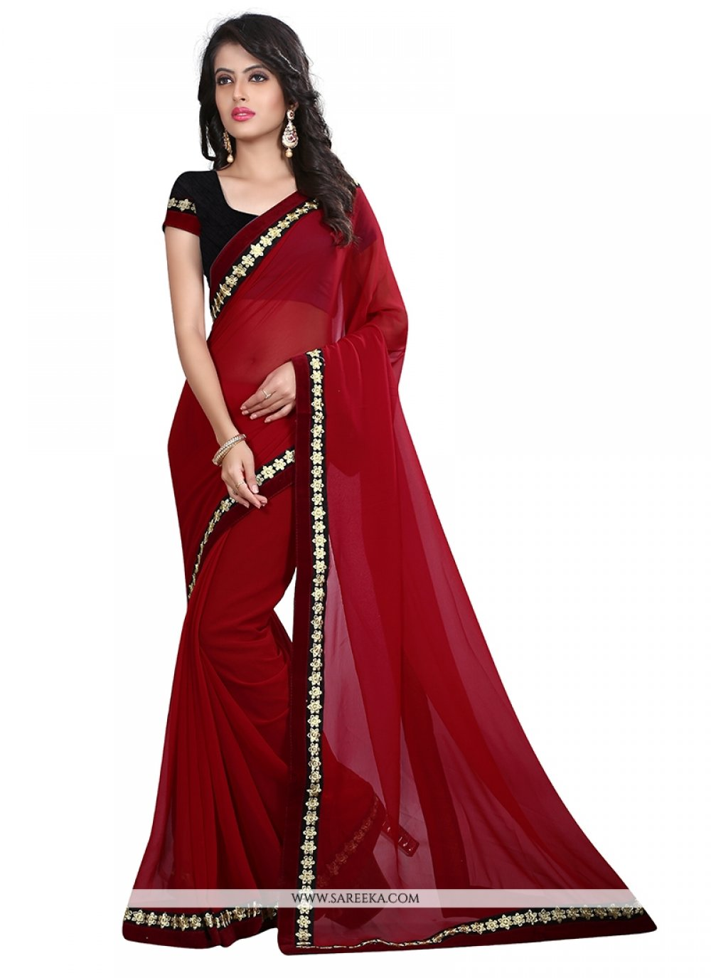 Patch Border Georgette Designer Saree in Maroon