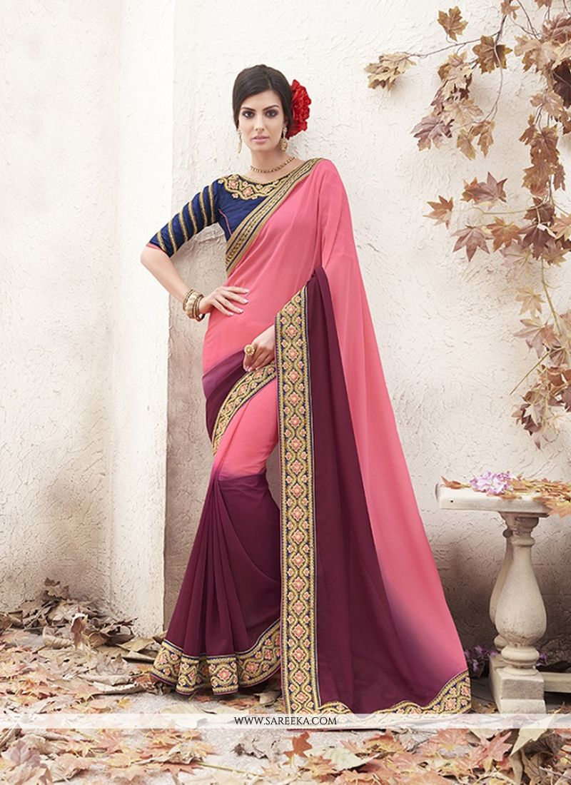 Patch Border Georgette Designer Saree in Pink