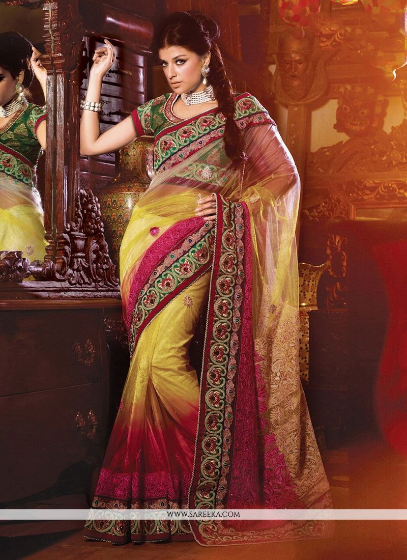 Patch Border Net Designer Saree in Pink and Yellow