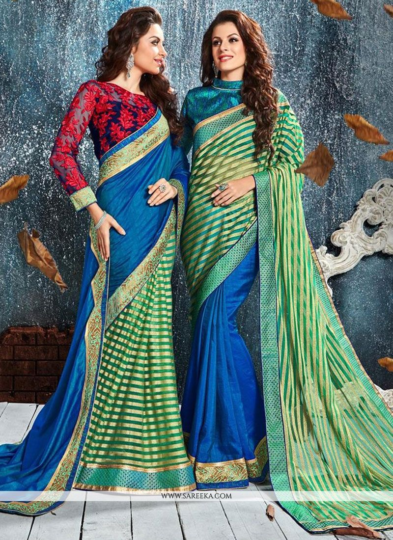 Patch Border Silk Classic Designer Saree in Blue and Sea Green