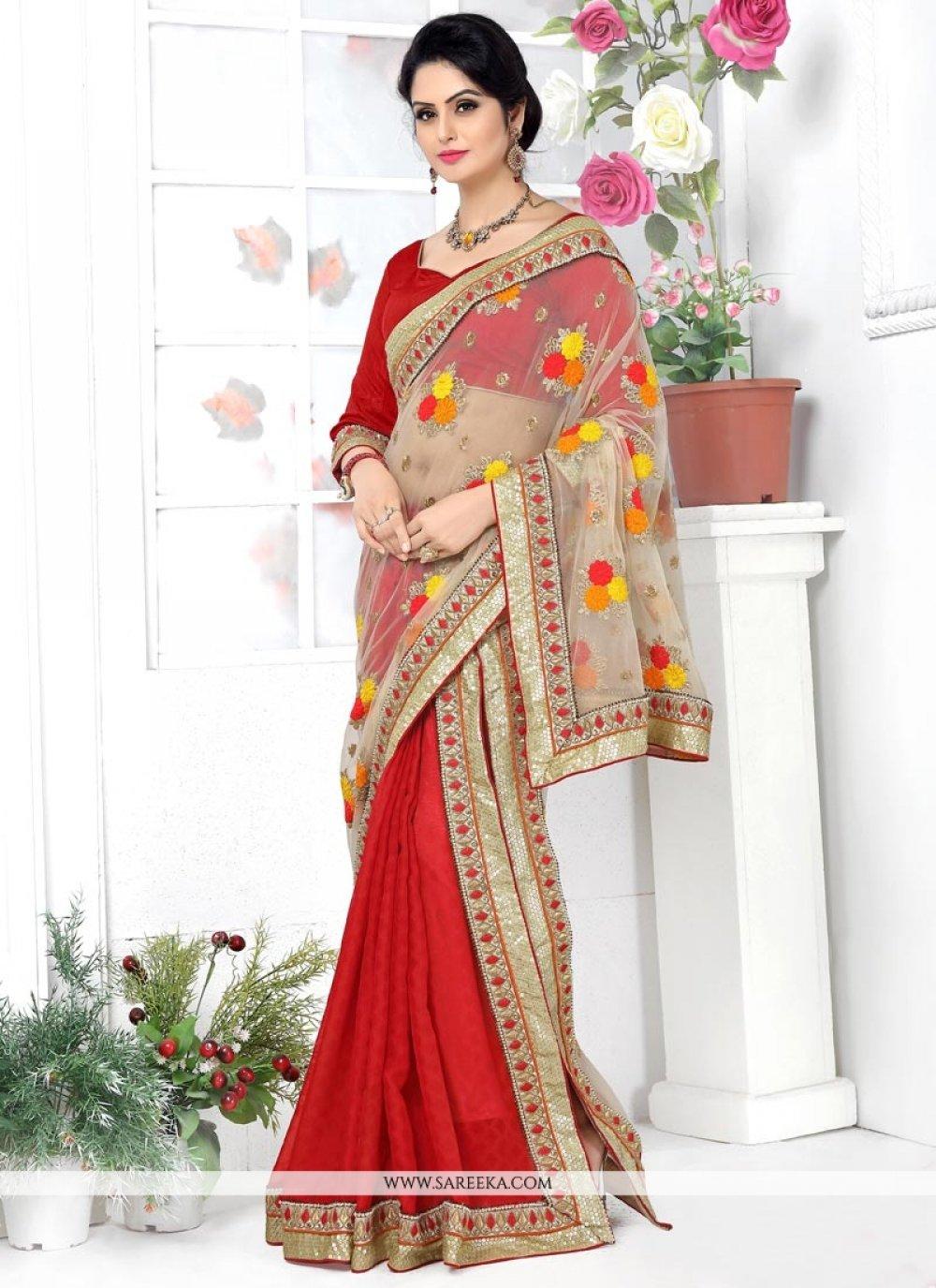 Banarasi Silk Red Patch Border Work Lehenga Saree