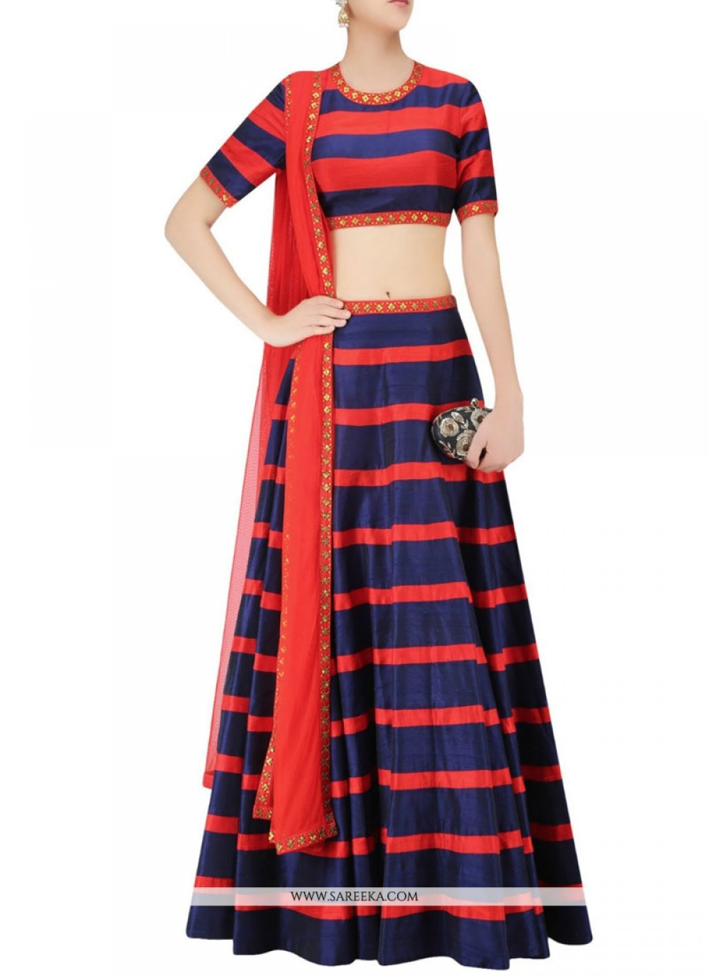 Blue and Red Raw Silk A Line Replica Lehenga Choli