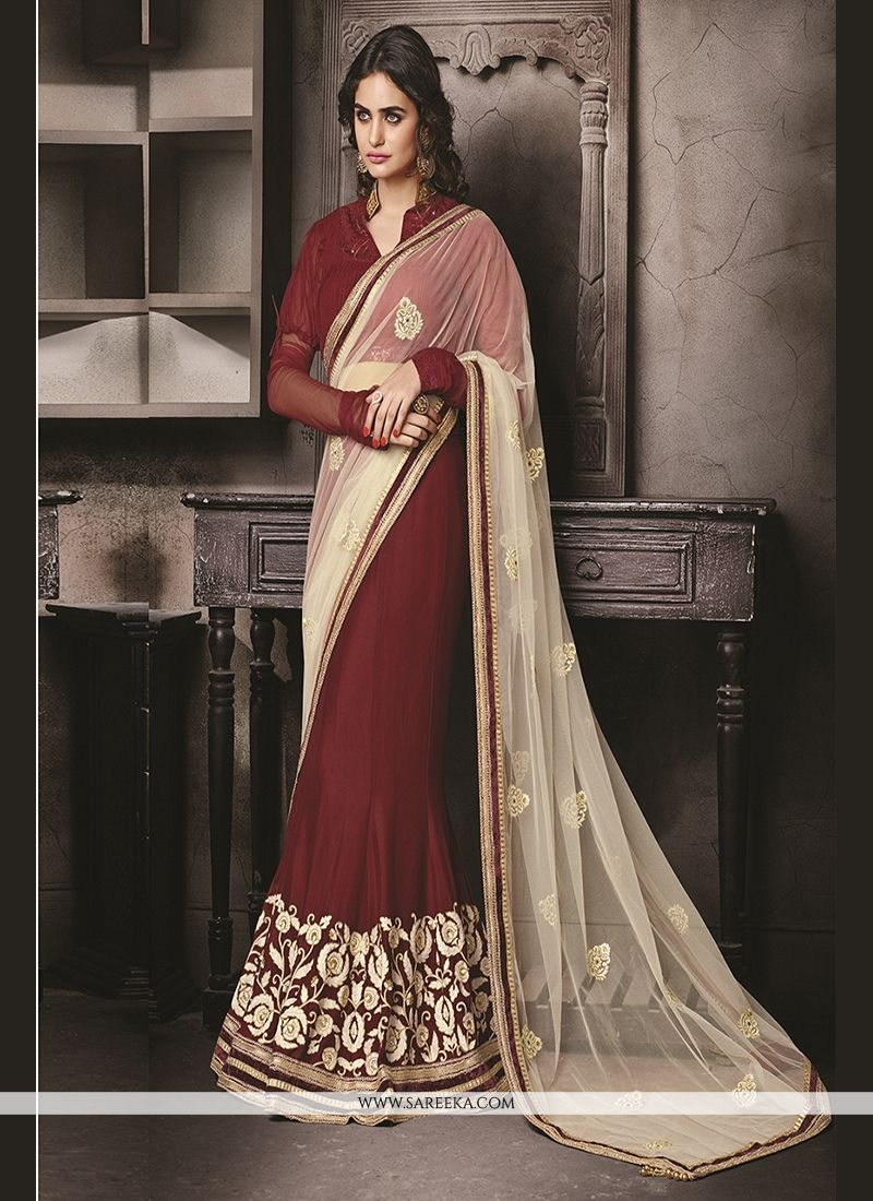 Brown Embroidered Work Faux Chiffon Classic Designer Saree