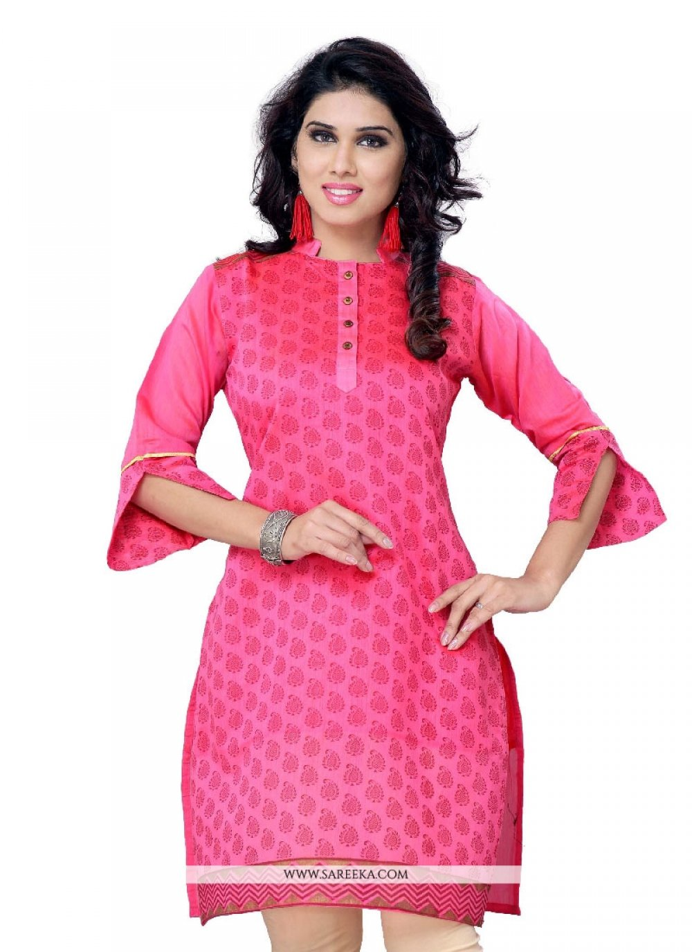 Hot Pink Party Wear Kurti