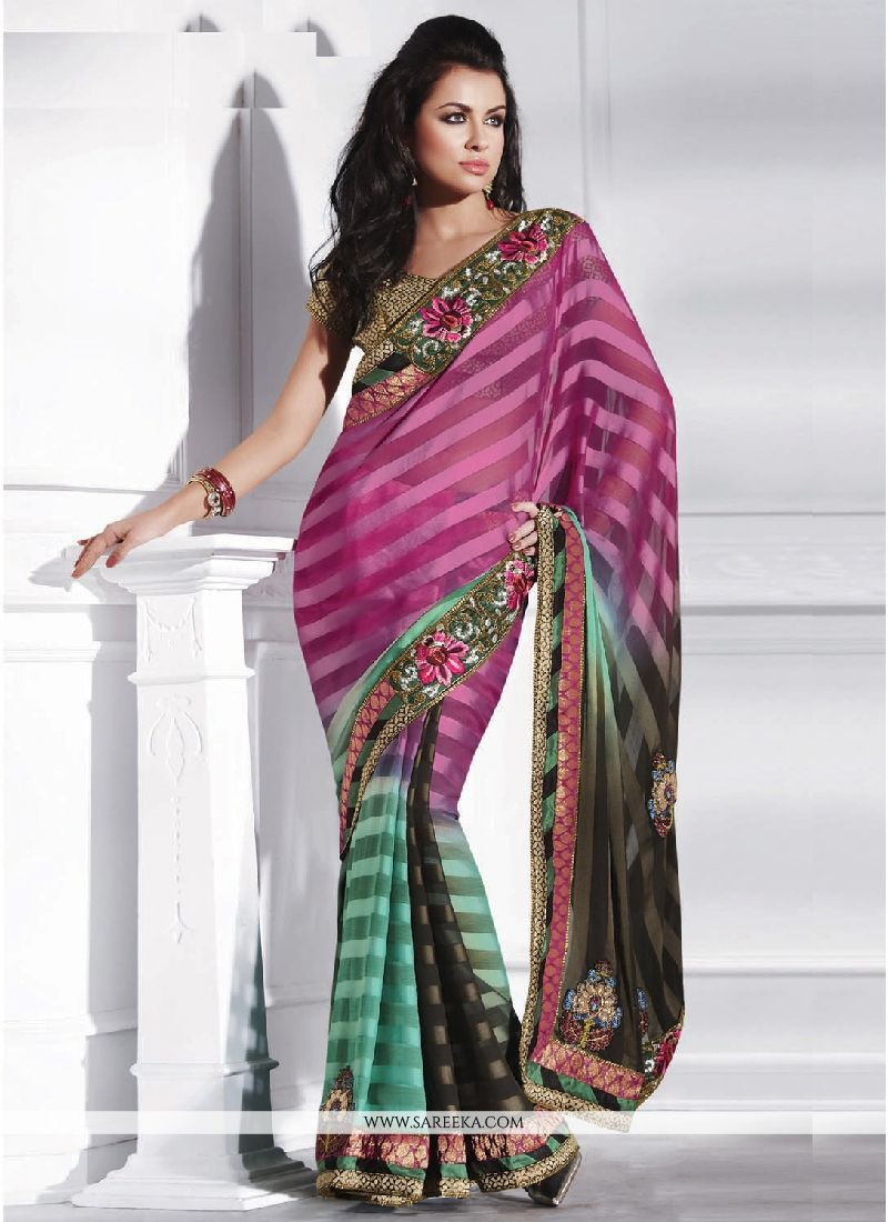Satin Multi Colour Designer Saree