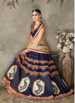Silk Navy Blue A Line Lehenga Choli