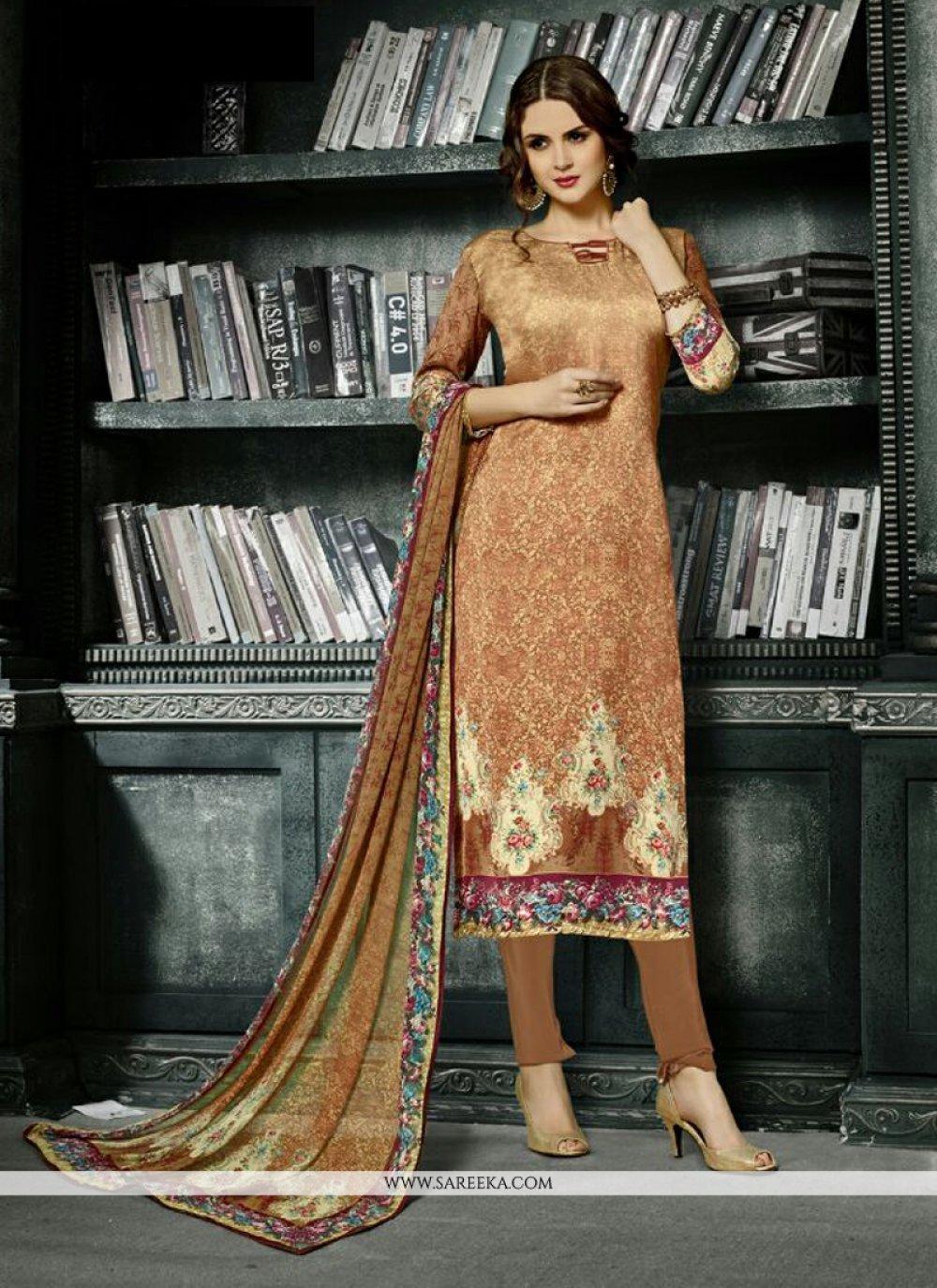 Beige Print Work Crepe Silk Churidar Designer Suit