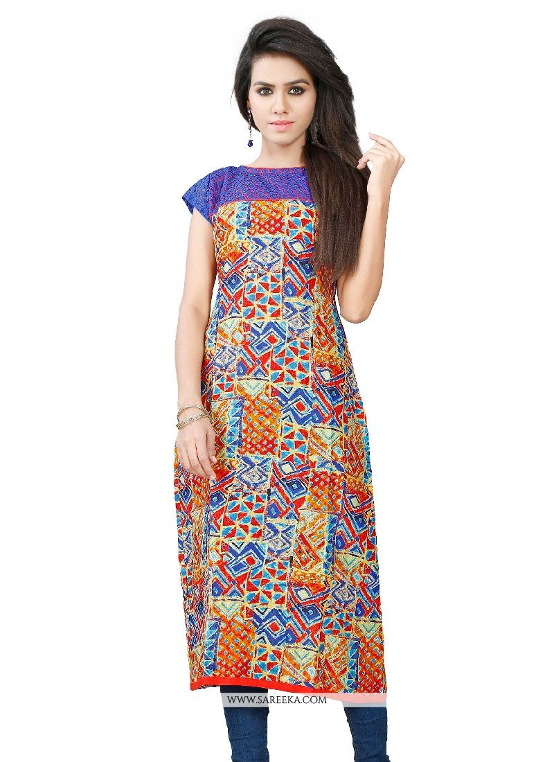 Cotton   Multi Colour Casual Kurti