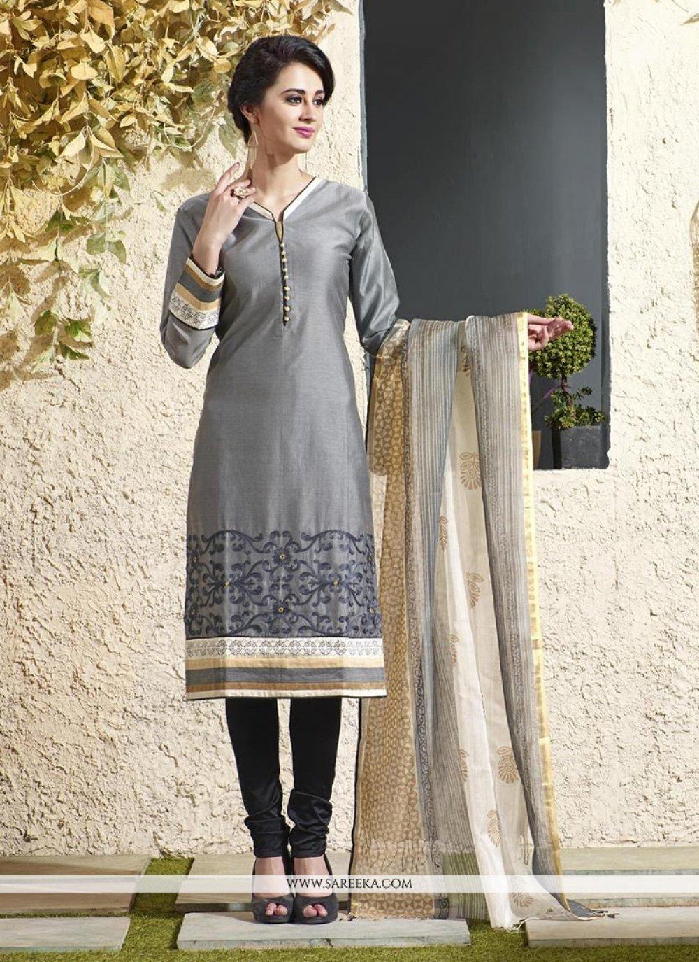 Grey Chanderi Cotton Readymade Suit