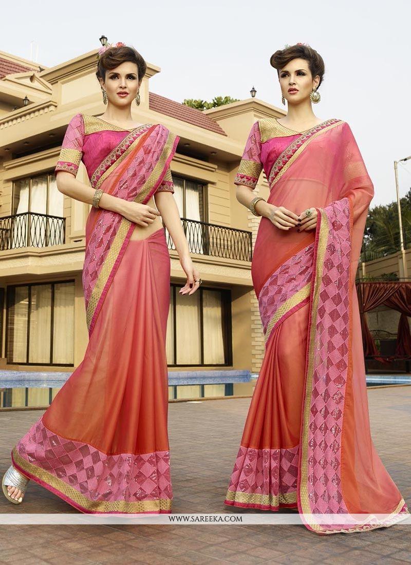 Jacquard Pink Patch Border Work Classic Designer Saree