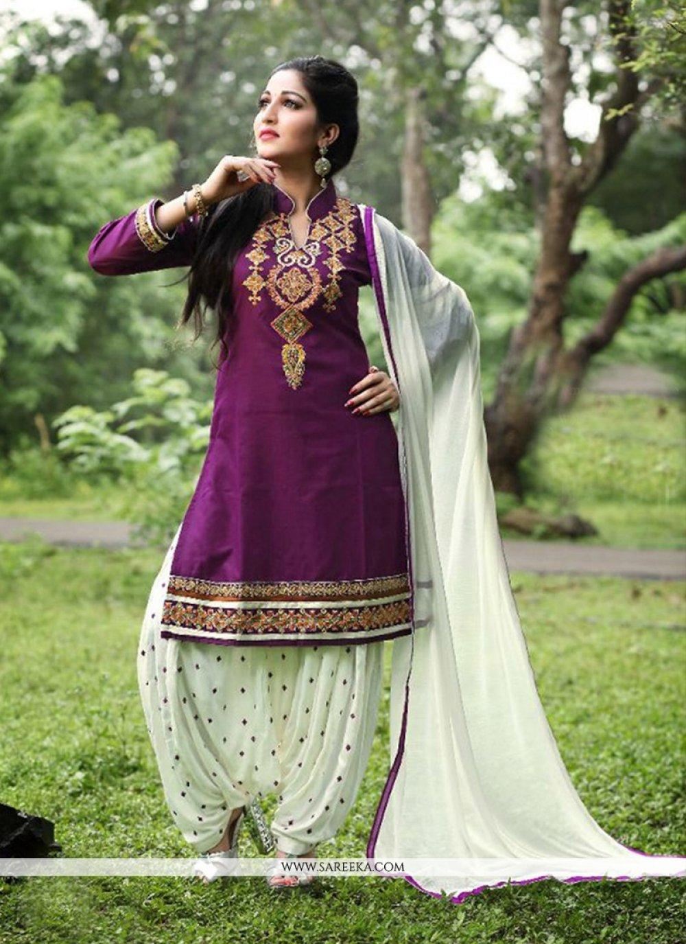Purple Embroidered Work Cotton   Punjabi Suit