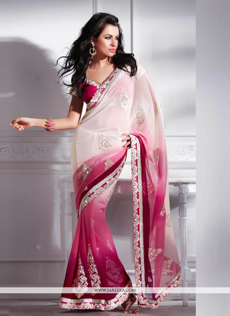 Embroidered Work Magenta Designer Saree
