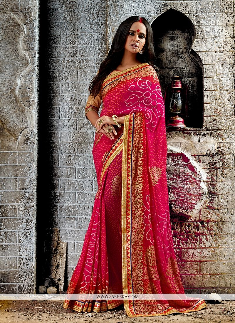 Patch Border Work Hot Pink Georgette Designer Saree