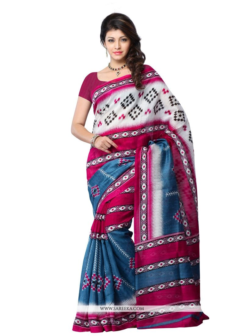 Print Work Multi Colour Art Silk Casual Saree