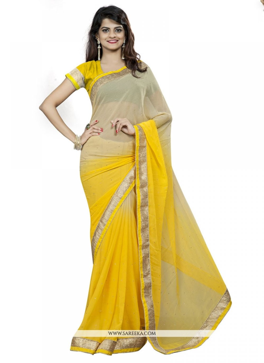 Patch Border Work Yellow Casual Saree