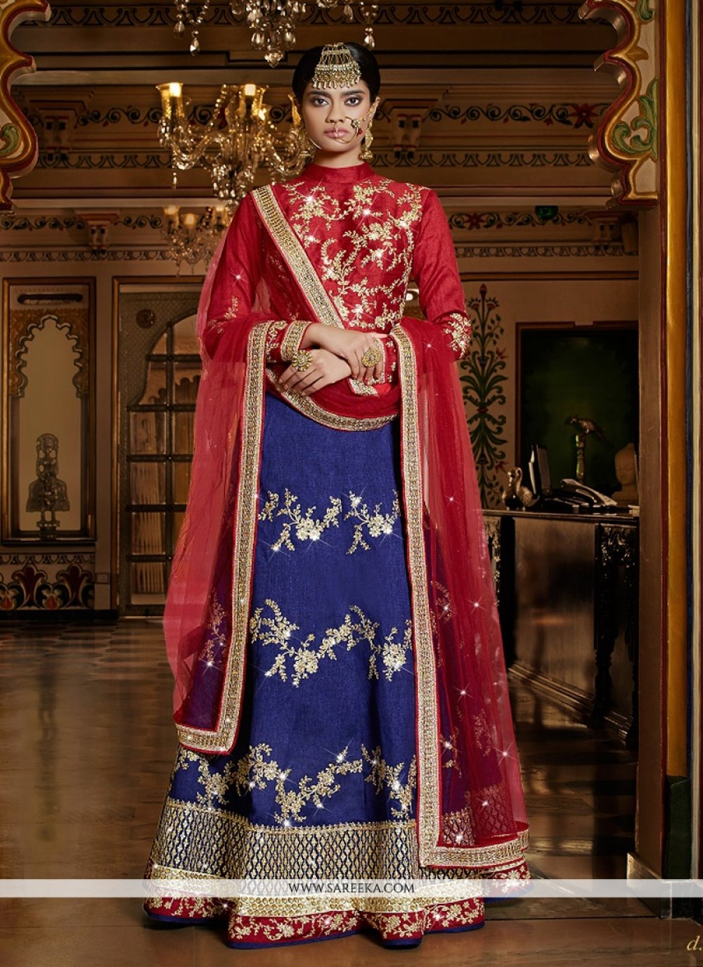 Silk Patch Border Work A Line Lehenga Choli