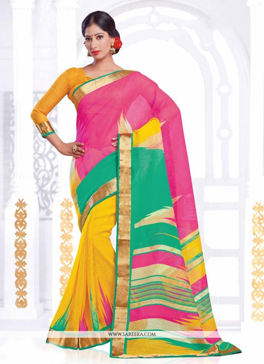 Silk Print Work Casual Saree