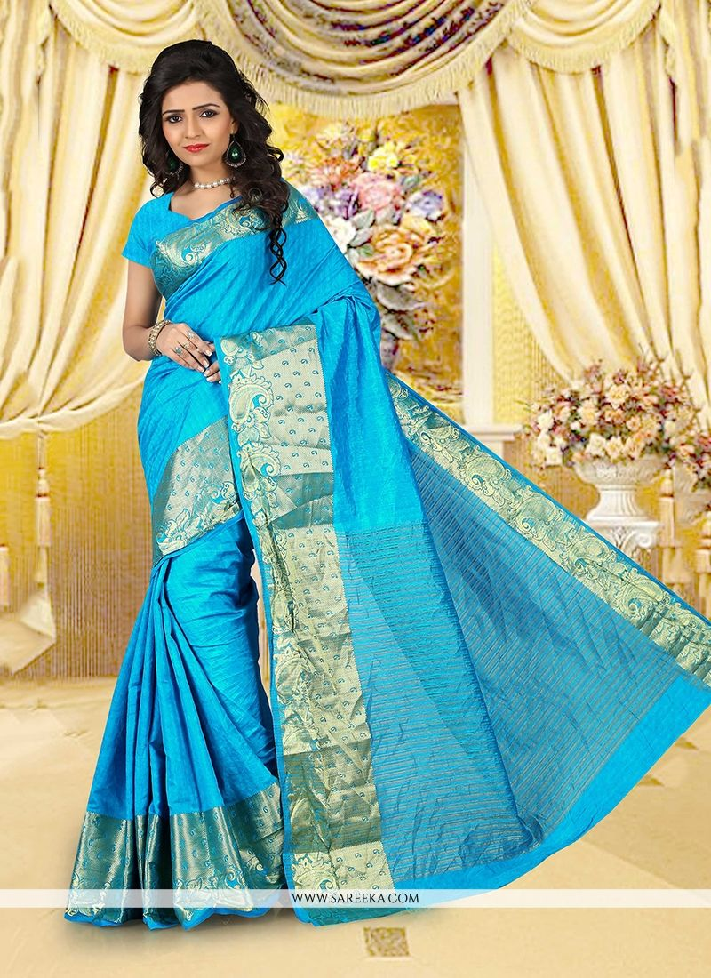 Cotton   Turquoise Patch Border Work Casual Saree