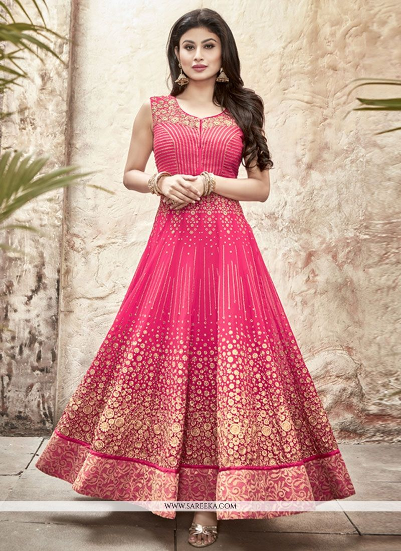 Georgette Patch Border Work Anarkali Salwar Kameez