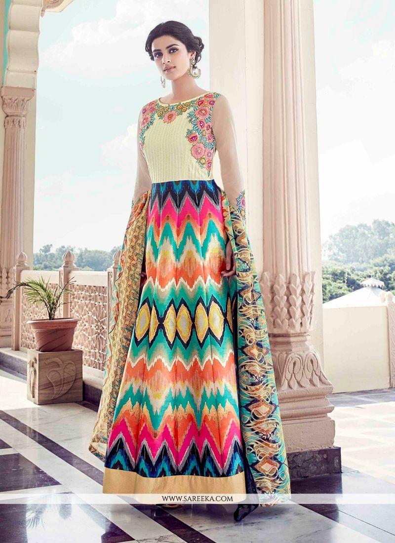 570a0cf62f Buy Multi Colour Banglori Silk Anarkali Salwar Kameez Online : Mauritius -