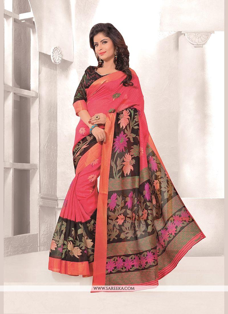 Pink Print Work Mysore Udyog Casual Saree