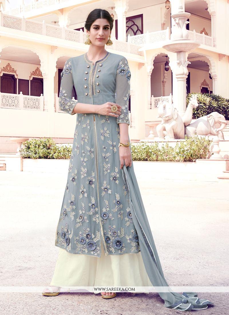 83c662a68a Buy Georgette Grey Resham Work Designer Palazzo Salwar Kameez Online :  South Africa -