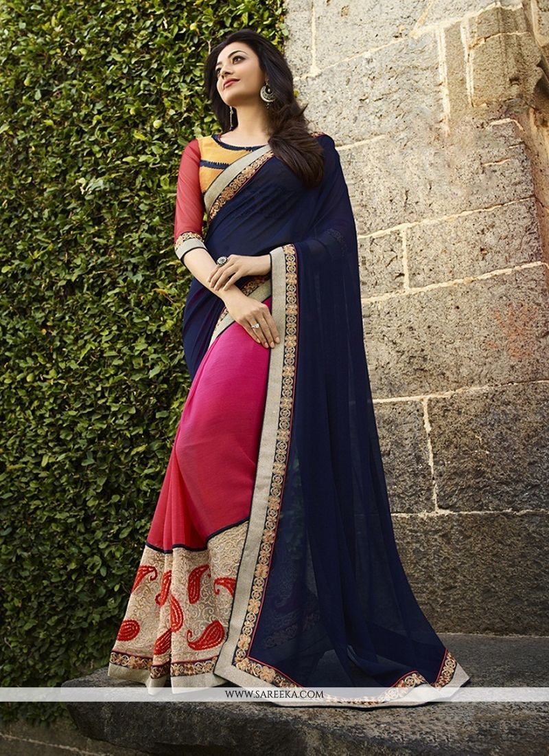 Georgette Navy Blue Classic Designer Saree