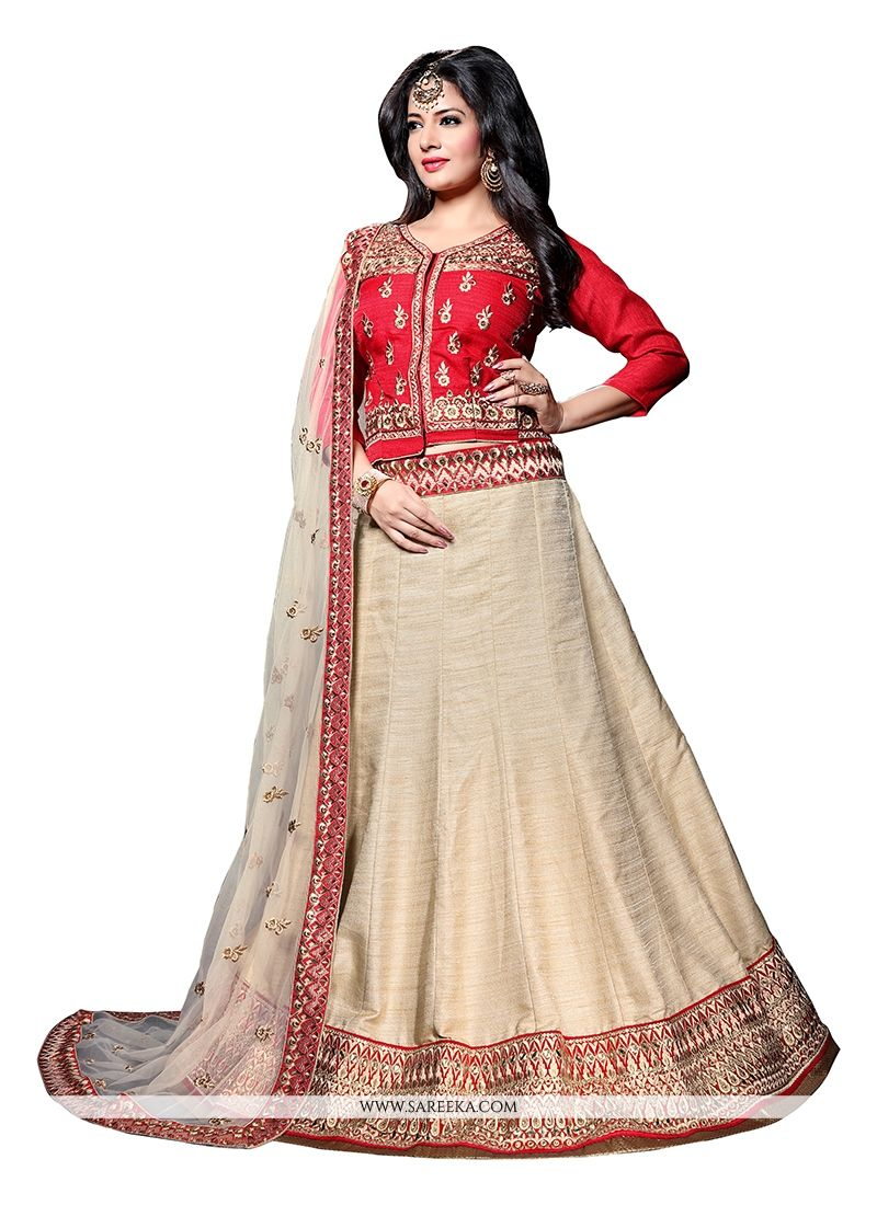 Embroidered Work Art Dupion Silk A Line Lehenga Choli