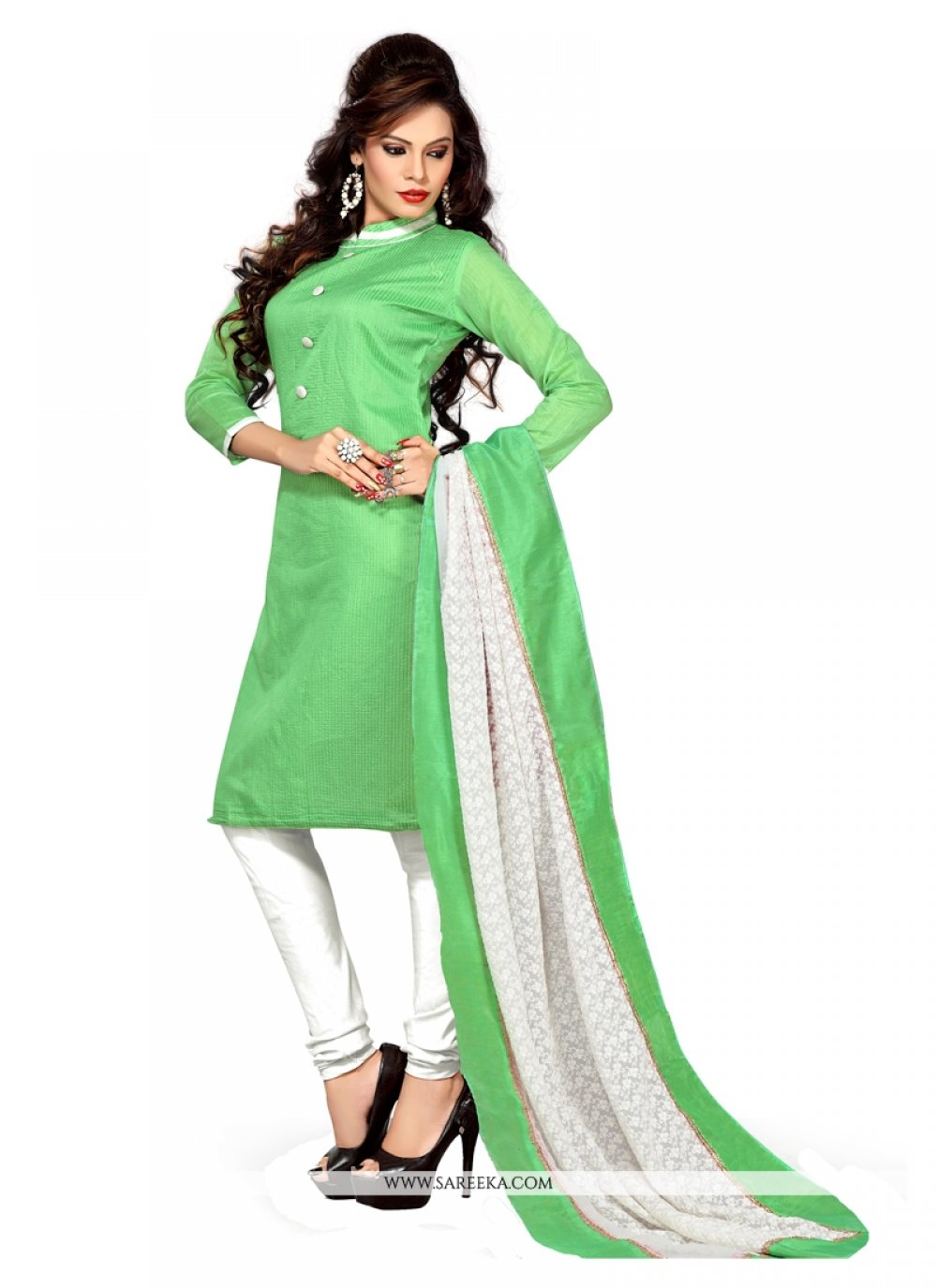Lace Work Chanderi Churidar Suit