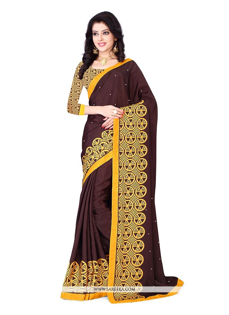 Patch Border Work Chiffon Satin Casual Saree