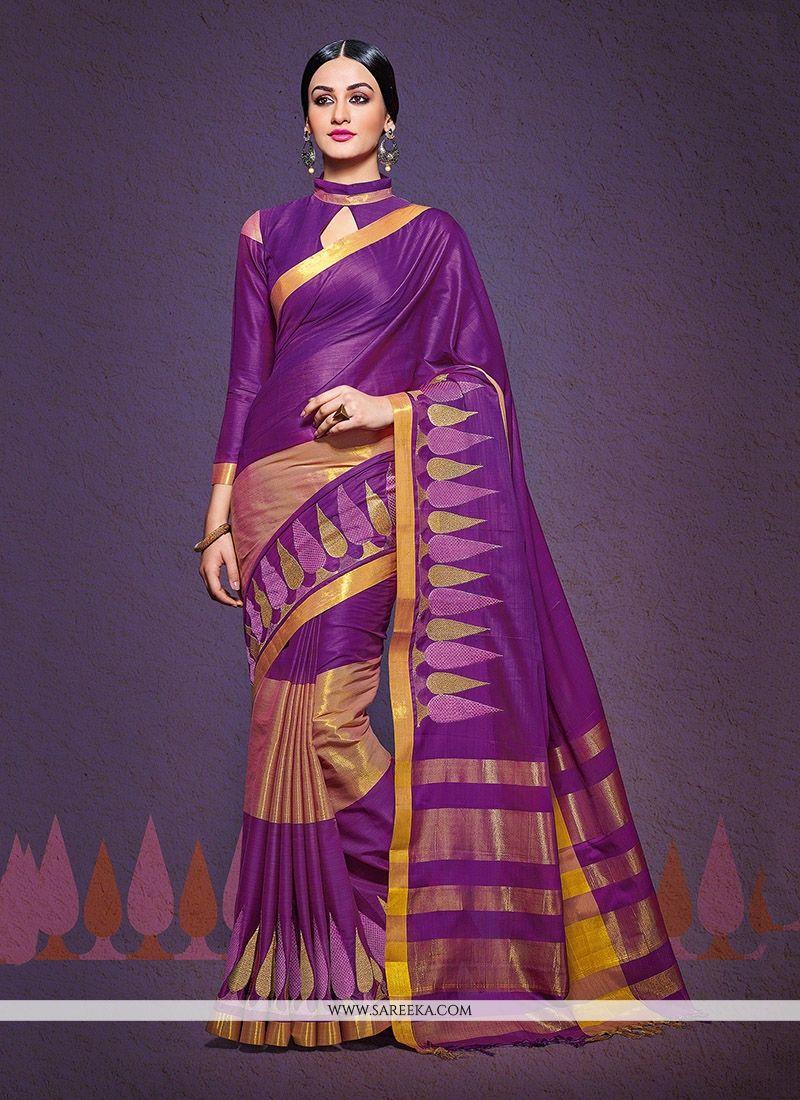 Patch Border Work Purple Designer Saree