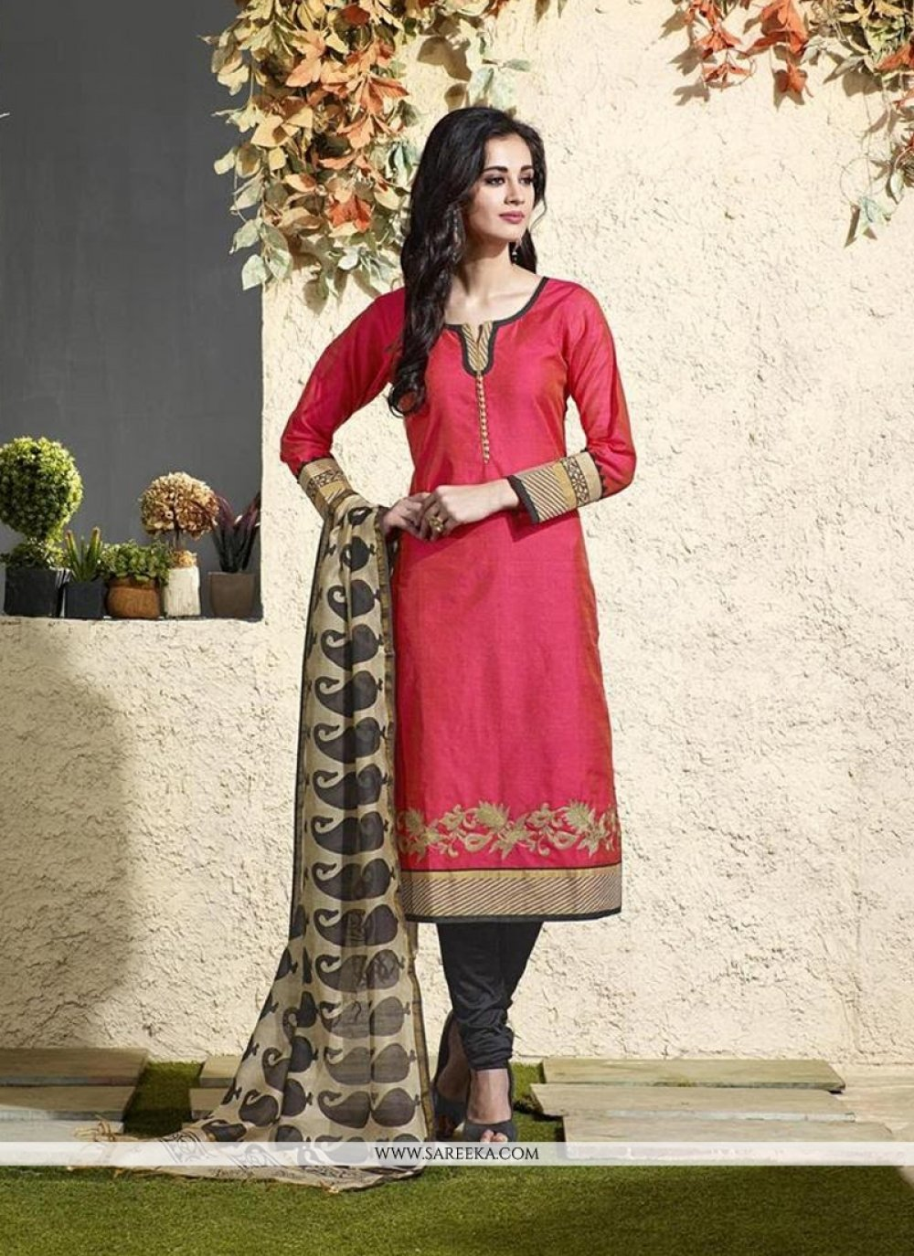 Lace Work Hot Pink Chanderi Cotton Readymade Suit