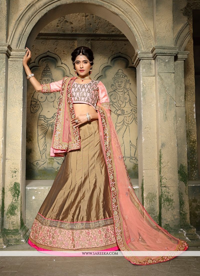 Silk Embroidered Work A Line Lehenga Choli