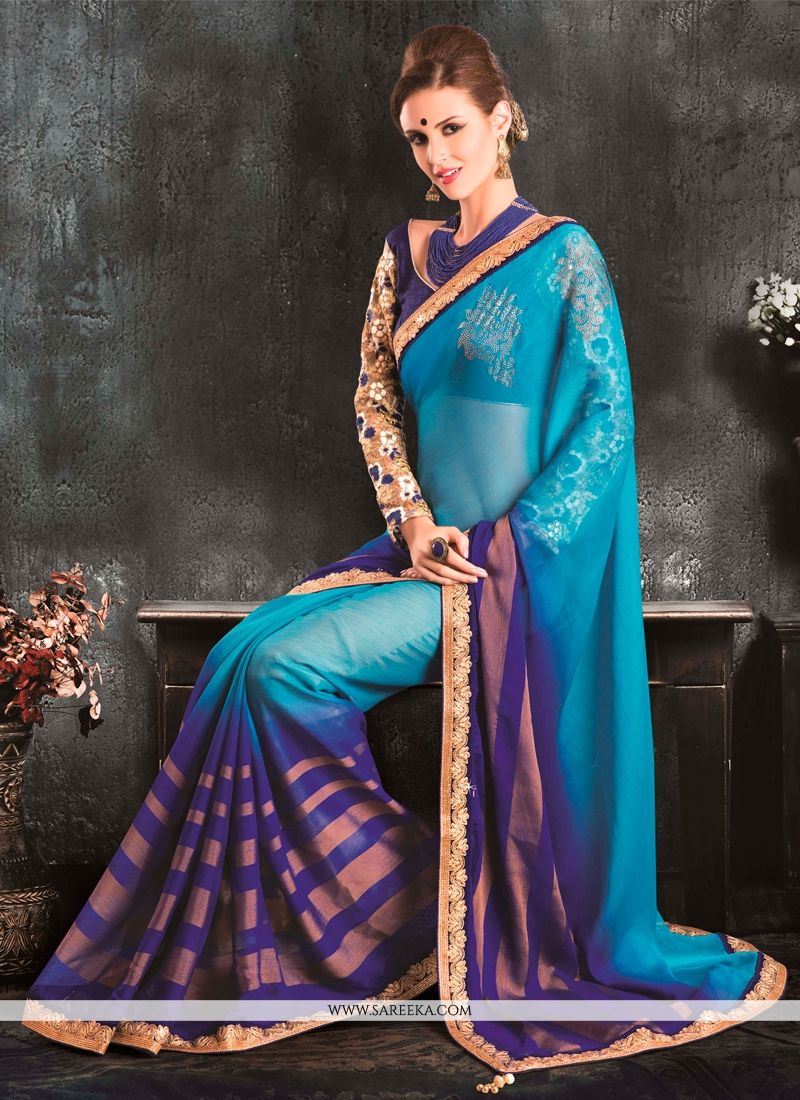 Blue and Purple Embroidered Work Jacquard Classic Designer Saree