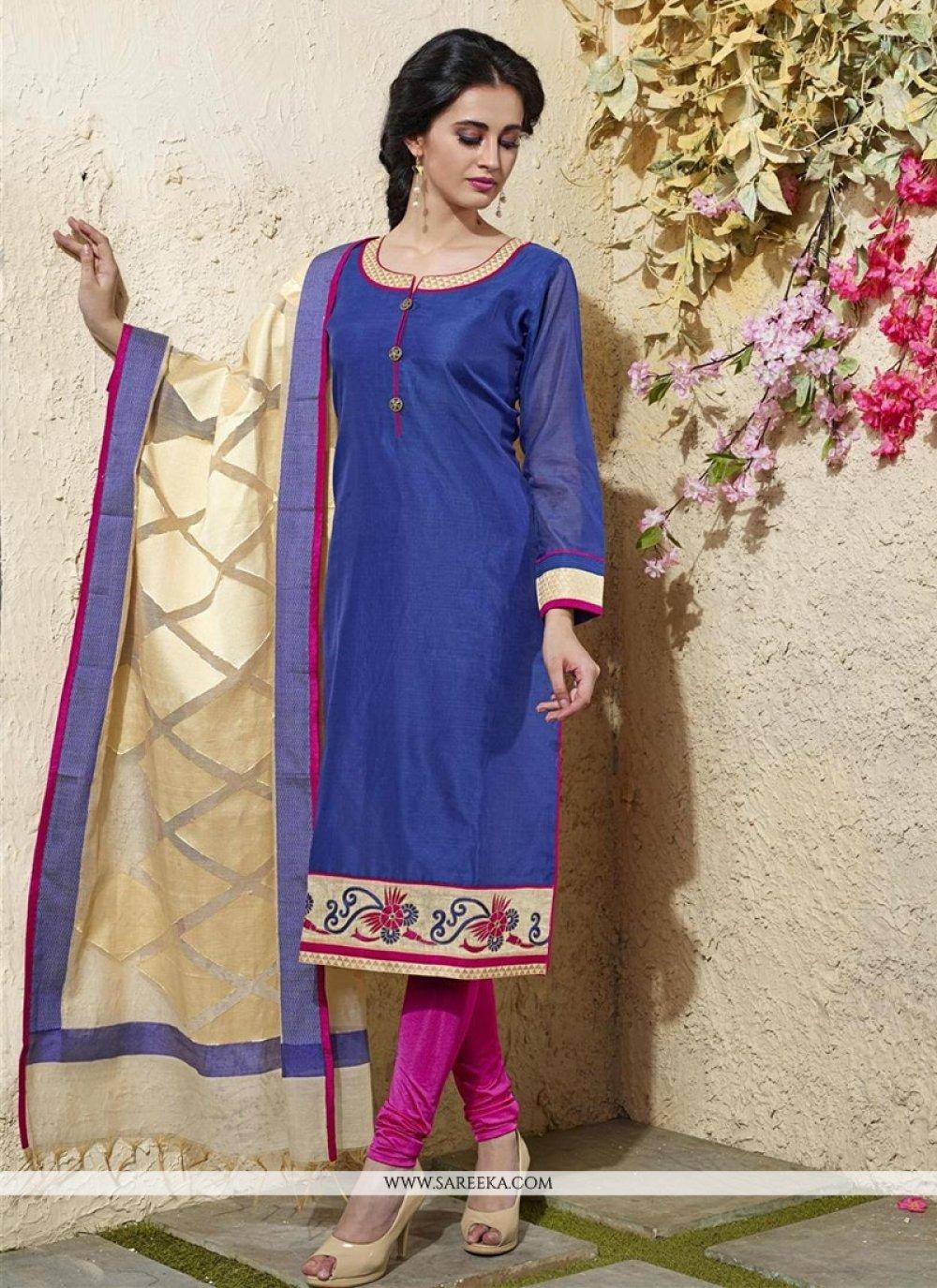 Blue Chanderi Cotton Readymade Suit