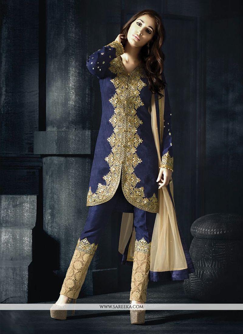 Fancy Fabric Navy Blue Resham Work Designer Suit
