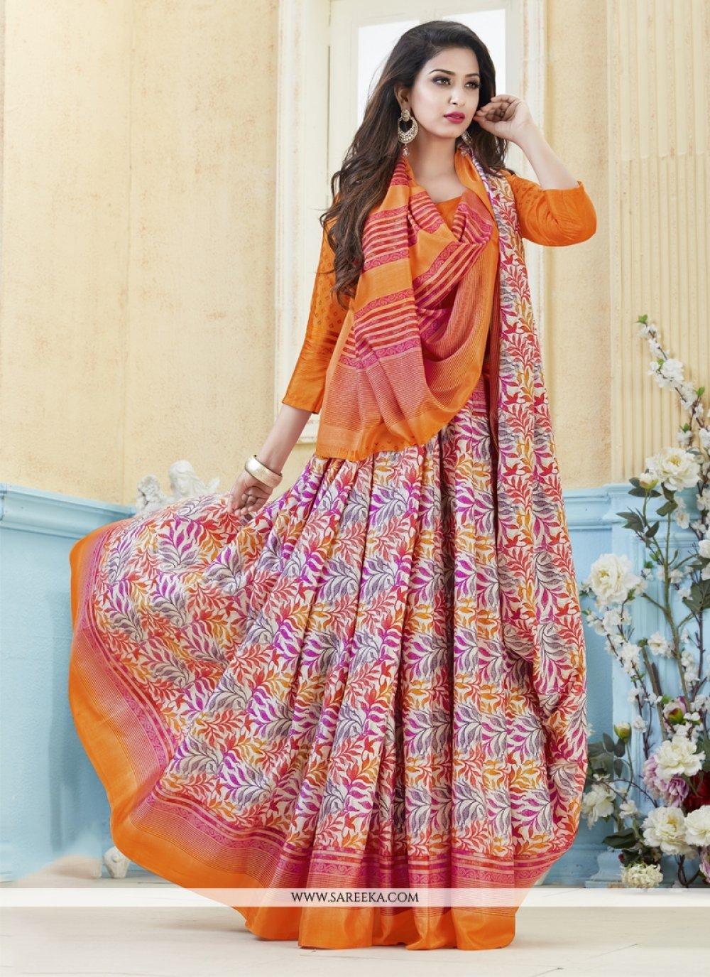 Kanchipuram silk Multi Colour Print Work Casual Saree