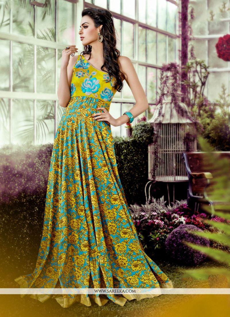 Multi Colour Print Work Designer Gown