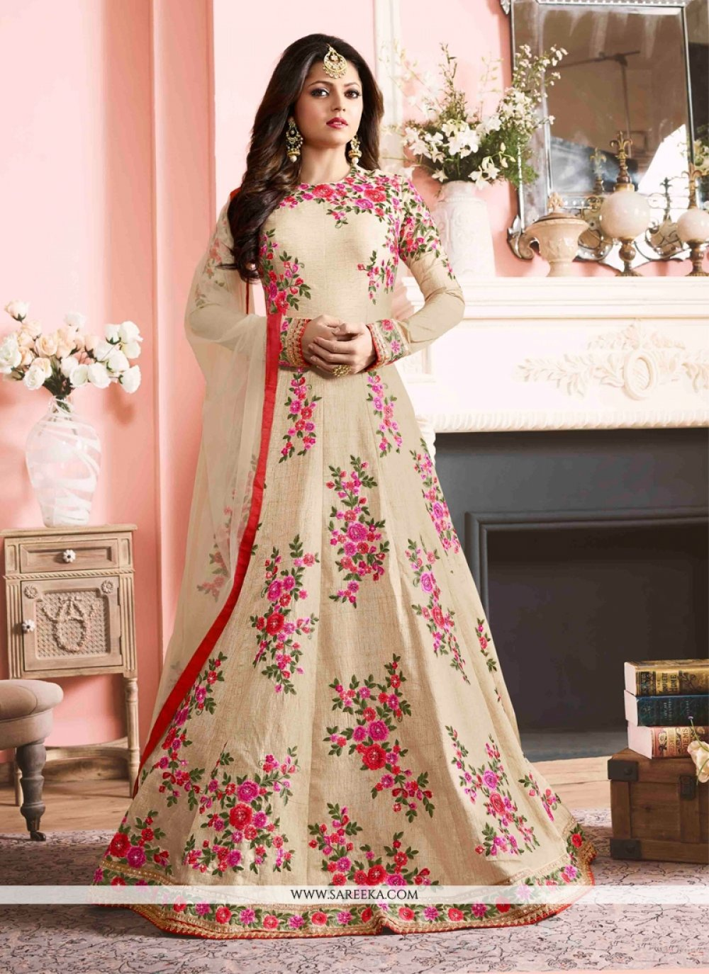 Silk Print Work Designer Floor Length Suit