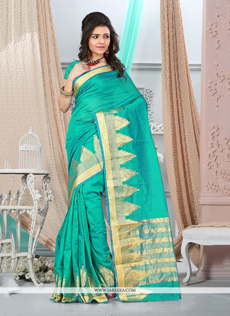 Cotton   Sea Green Patch Border Work Casual Saree