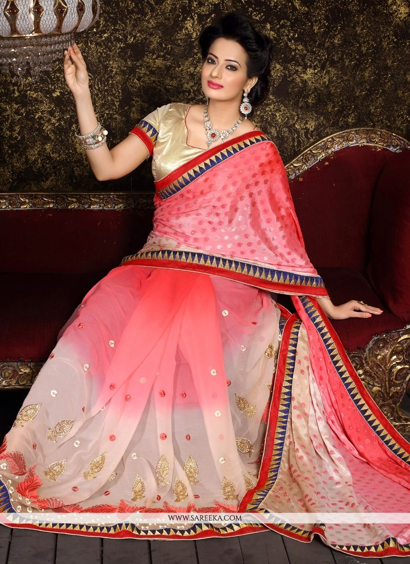Crepe Jacquard Pink Patch Border Work Designer Half N Half saree