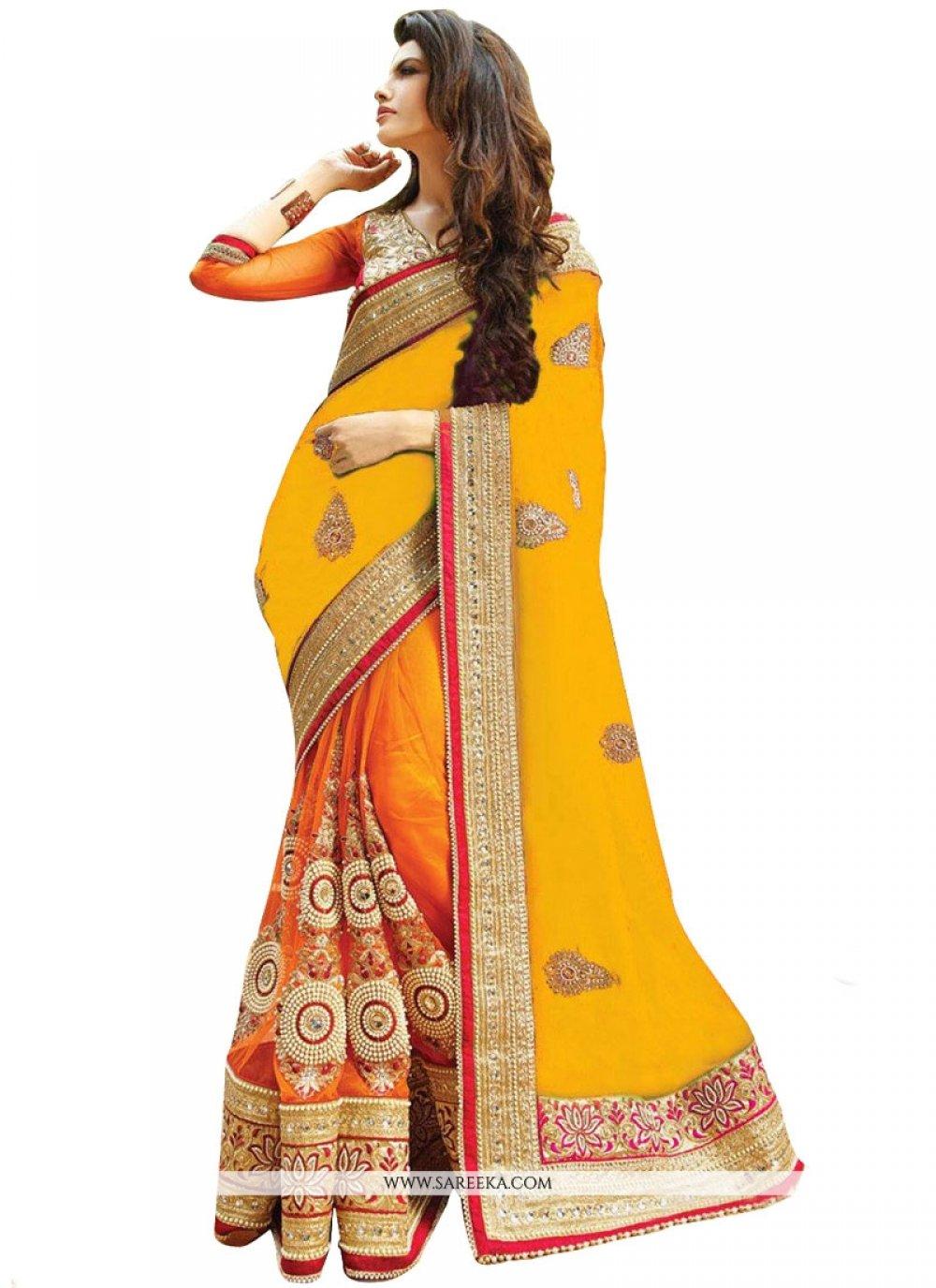 Orange and Yellow Half N Half Designer Saree