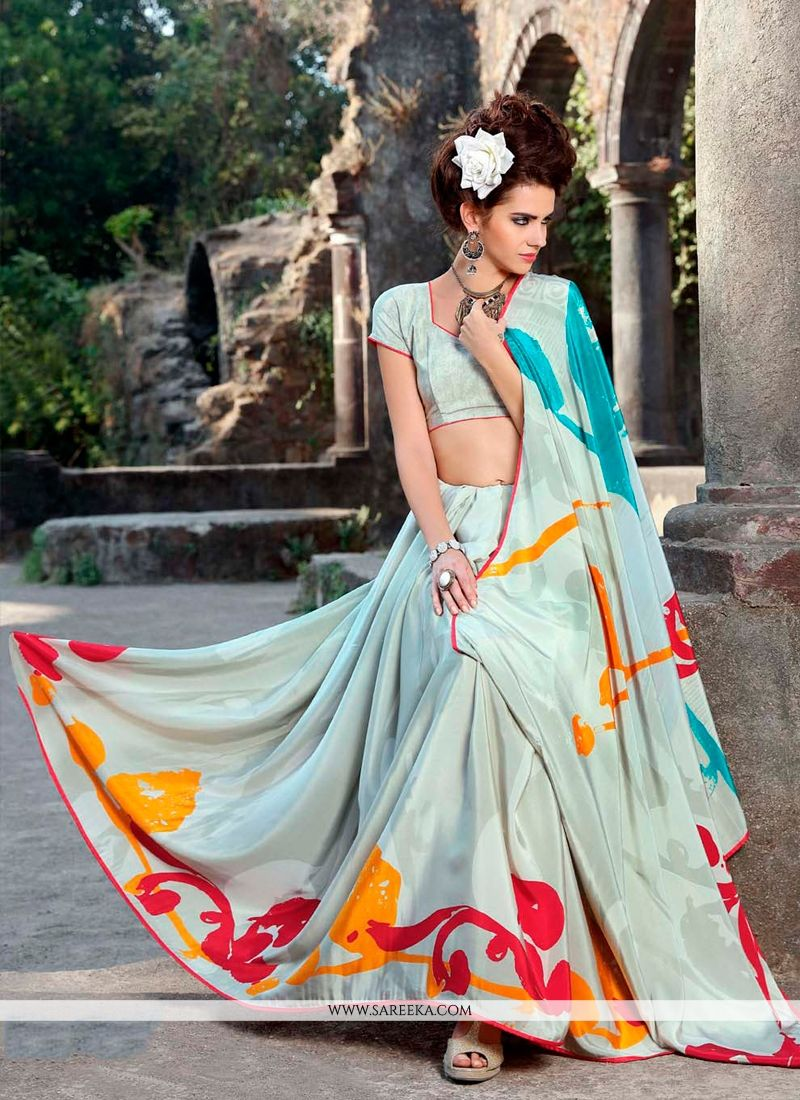Print Work Faux Crepe Casual Saree